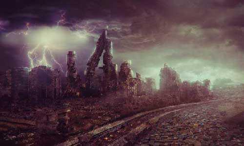 Уничтоженный мир после глобальной катастрофы