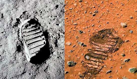 След на Марсе (справа) слева на Луне
