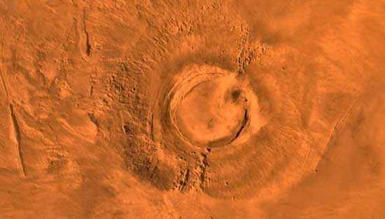 Снимок древнего вулкана на Марсе