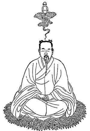 Иллюстрация «выхода духовного тела», описанная в «Тайне золотого цветка», китайской книге алхимии и медитации