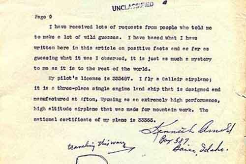 Отчетная записка Кеннета Арнольда об НЛО