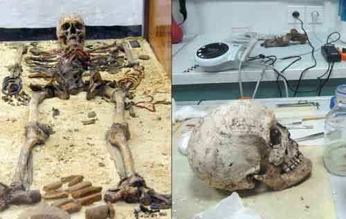 Левое фото, останки Тин-Хинан. Правое фото, череп принцессы после восстановления. Скелет был украшен 7 серебряными браслетами на правой руке, и 7 золотыми на левой.