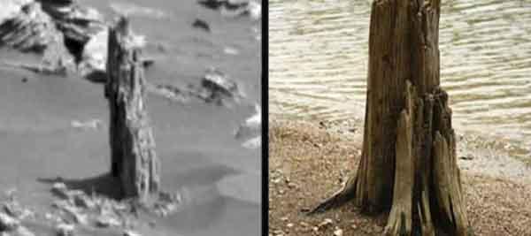 слева Марс, справа Земля