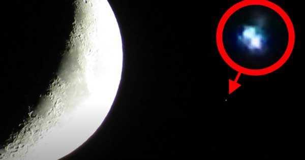 25 сентября недалеко от Луны был запечатлен красочный НЛО