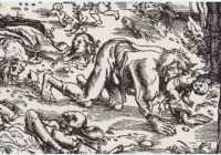 Ксилография, изображающая нападение оборотня, созданная Лукасом Кранахом