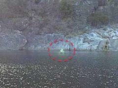 Призрак или зеленый человек позировал на селфи отдыхающих.
