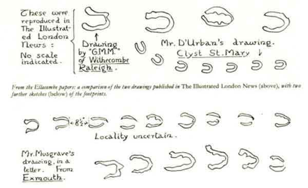 Пример дьявольских следов, напечатанных в The Illustrated London News